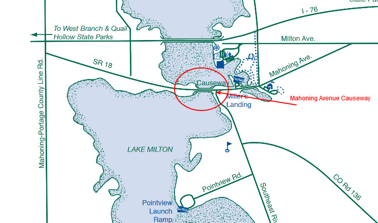 Lake Milton Ohio Map.Lake Milton Mahoning Avenue Causeway Birding In Ohio